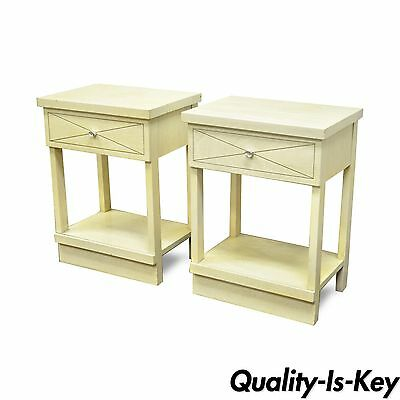 Pair of Vintage Mid Century Modern Bleached Mahogany Retro End Table Nightstands
