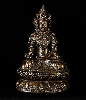 """Antique Style Chinese Amithaba Yongle Enlightenment Buddha Statue - 19cm/8"""""""