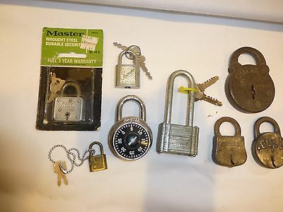 lot of vintage antique pad locks omega, master, goliath, slaymaker, bull