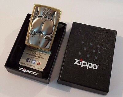 24ct GOLD PLATED GENUINE ZIPPO 'STOCKING GIRL' PETROL LIGHTER GIFT BOXED 24k