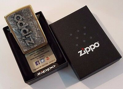 24ct GOLD PLATED GENUINE ZIPPO 'STONE DESIGN' PETROL LIGHTER GIFT BOXED 24k