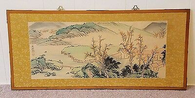 Vtg Oriental Asian Art Wall Panel Silk Screen Picture Painting Mountain Village