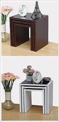 Nest of 3 Tables White High Gloss Or Walnut Veneer with Black Glass Center
