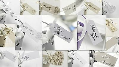 White & Silver Thank You,just Married,butterfly,heart 10 Pack Gift Favour Tags