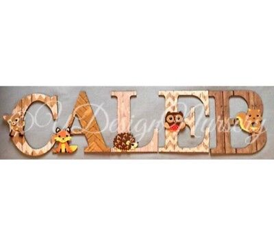 Woodland Themed Wooden Letters - Baby Nursery - Wall Letters - Forest Animals