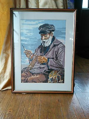 Tapestry Framed picture of Old Fisherman Sewing Nets by the Sea Cross stitch