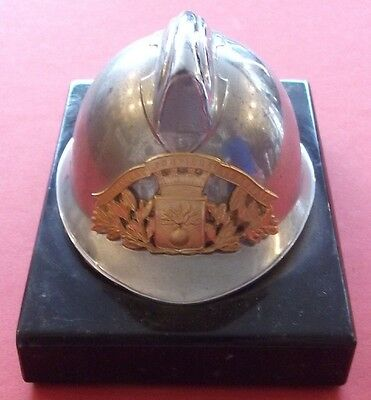 Ornament - miniature French Fire Brigade helmet on base