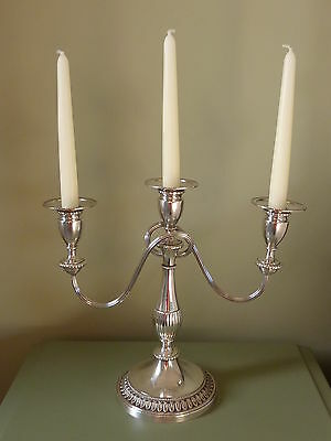 Vintage Viners Of Sheffield 3 Arm Candelabra Alpha Plate Great For Christmas