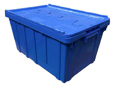 60 litre PLASTIC STORAGE BOX CRATES with LID heavy duty stackable 60 x 40 x 32cm