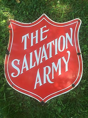 Antique Salvation Army Porcelain Enameled Sign Retail Thrift Advertising Vintage