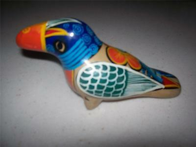 Vintage Folk Art Toucan Colorful Clay Bird ~ Signed Pedro