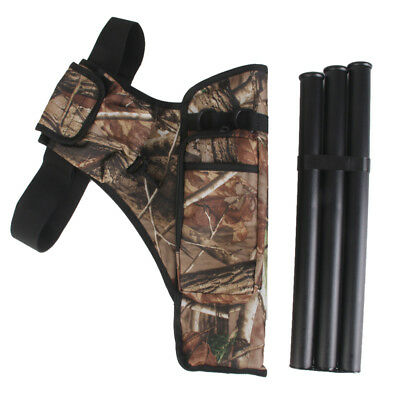 Outdoor Forest Hunting Archery Accessories - Camo Belt Quiver Bag + 3 Tubes