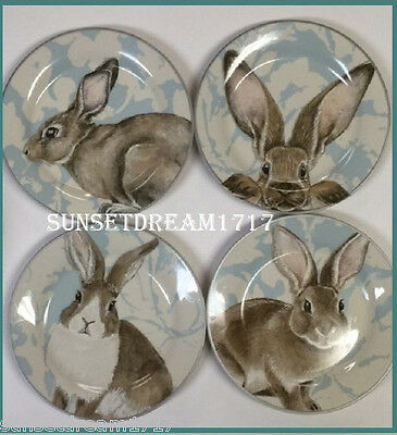 Williams Sonoma Blue Damask Bunny Salad Plates, Set of 4 New In Box