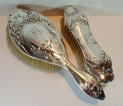 "Antique Art Nouveau HM Silver Hair & Clothes Brush Set Monogram ""FJ"" 1907"