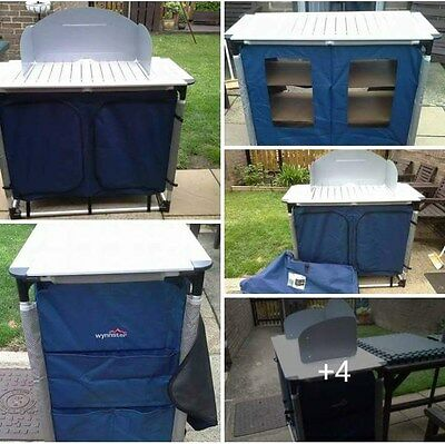 wynnster Framed Cooking Station with 2 cupboards camping kitchen Mint Condition