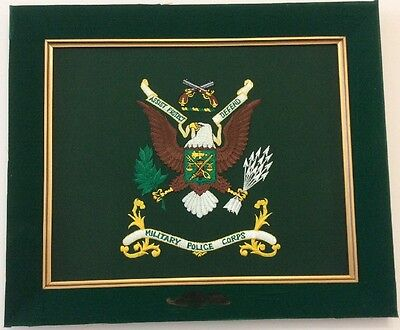 "US Army Military Police ""Assist-Protect-Defend"" Machine Embroidered Panel 15x18"""