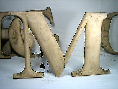 "antique wooden letter ""M"" large old paint over gold, theater marquee 17""x12"""