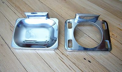 2 Vintage Mid-Century Chrome bathroom holders Soap & Cup-Toothbrush wall-mount