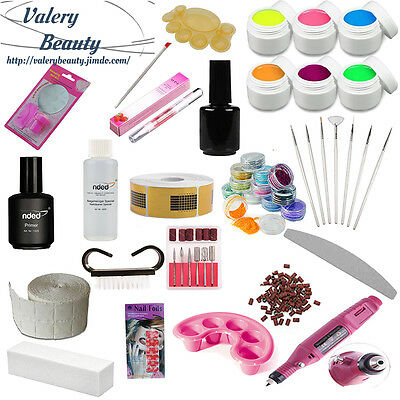 Kit Ricostruzione Unghie Completo 6 Gel Uv Fresa Nail Art Nded
