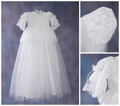 Chantilly White Lace Christening Gown and Bonnet by Christie Helene  9m 13-17lbs
