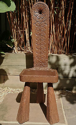 Antique Arts & Crafts Wooden Spinning Stool Chair Indian Colonial Carved C20th