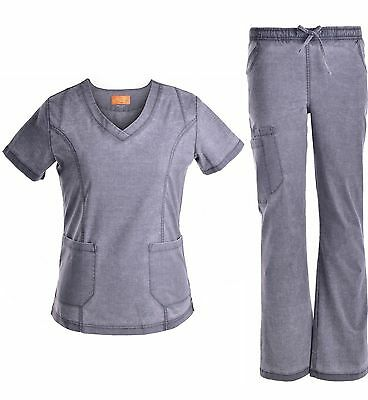 Medical Scrubs Denim Washed Full Set  Stretch Fabric Pewter New Item XS S M L XL
