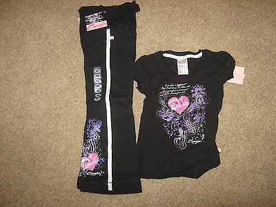 NEW Capezio Black Dance Outfit, T & sweats- Child lg -pink, silver, lav- w/ tags