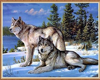 5D DIY Mosaic Diamond Painting Embroidery Wolves Cross Stitch Kits Craft