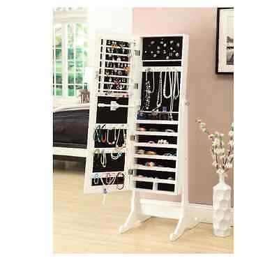 Standup Jewelry Box With Mirror Storage Armoire White Teenage Bedroom Furniture