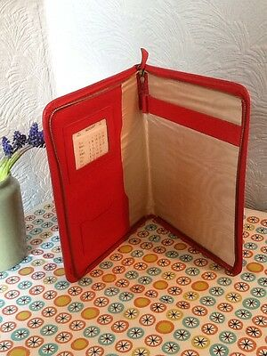 Great Vintage Red Large Leather writing case-great For Pad Storage #2393
