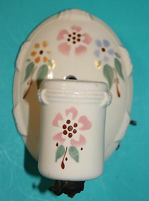 Vintage Porcelain Wall Sconce Light Fixture Floral Design Plug-in Outlet