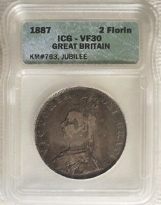 Great Britain Sterling Silver 1887 Victoria  Double Florin, Shown.... ICG VF 30