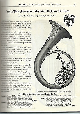 1916 Wurlitzer Musical Instrument Catalog on CD 196 pages Brass Instruments