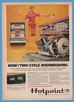 1958 Hotpoint Dishwasher 1950s Dishwashing Vintage Retro Kitchen Decor Ad