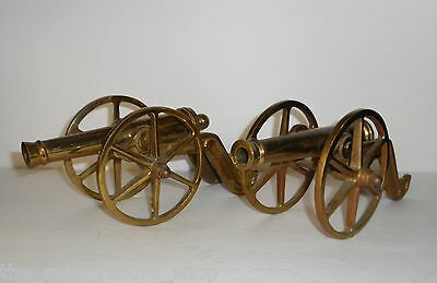 (2) Vintage 70s Ornate Militaria Brass Firing Cannon Gun Carriage Bookends 10""