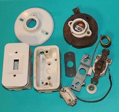 Vintage Porcelain Electrical Light Bulb Fixtures Switches  ~ Lot of 12