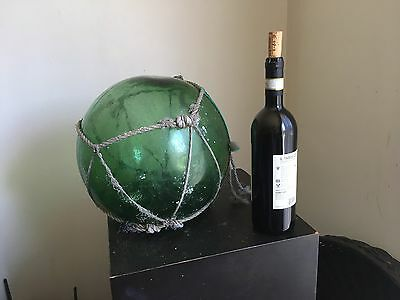 Vintage Antique Japanese Glass Fishing Float Buoy Ball Large 10 inch diameter