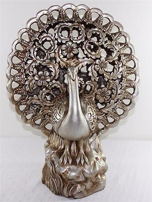 "Decorative Large Silvertone Distressed Finish Resin Peacock Figurine 15"" Tall"