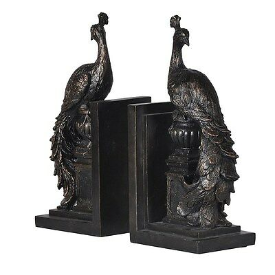 Pair of Peacock Bookends Beautiful & Elegant H: 27cm Bookcase/Shelf High End