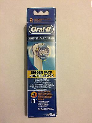 Braun Oral B Precision Clean Toothbrush Heads Pack Of 4 Bnip 100% Authentic