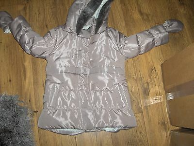 Blue zoo 3-4 Years Girls Coat BEIGE WITH DETACHABLE MITTENS VGC