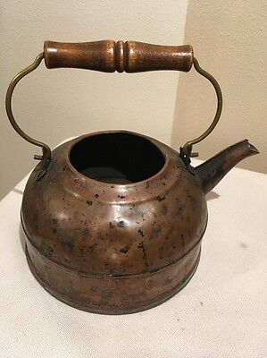 Antique Vintage Copper Kettle Wood And Brass Wire Handle. No Lid.