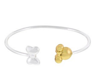 Disney Authentic Bangle Bracelet✿Silver Bow Gold Minnie Mouse Icon Ears Gift Box