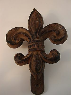Fleur de Lis Rustic French Cast Iron Door Knocker Distressed Antique Weathered