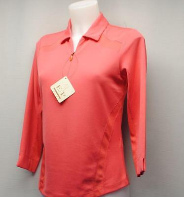 New Ladies XS EP PRO FROM AFAR polyester 3/4 sleeve zipped golf polo top