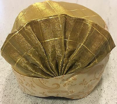 Men Gold Turban Indian Style Fan Front Ideal For Teenager Or Adult Man