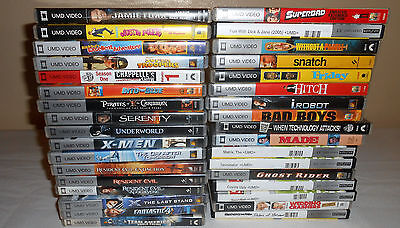 Lot of 34 Sony PSP Video Game Movies UMD Discs Comedy Drama etc..