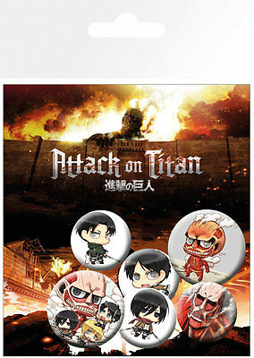 Attack on Titan Mix Badge Pack / Pin Set BRAND NEW