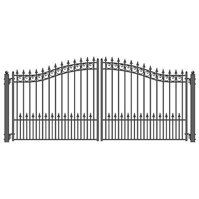 ALEKO Prague Style Ornamental Iron Wrought Dual Driveway Gate 14' High Quality