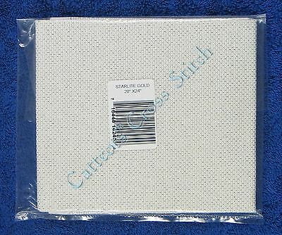 "Aida Cloth Starlite Fabric Metallic Gold Sparkle 14 Count 20"" x 24"""